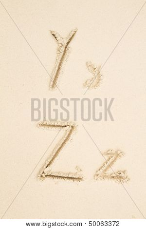 Alphabet and Numbers in Sand