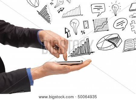 technology, internet and application concept - hand holding smartphone with icons