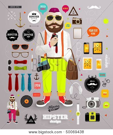 Hipster elements and icons set with Hipster Character for vintage style design poster