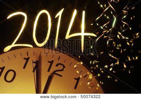 new year clock before midnight,2014