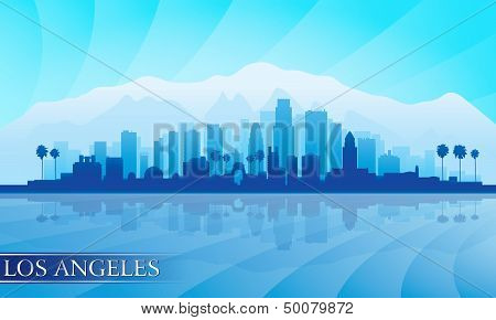 Los Angeles City Skyline Detailed Silhouette