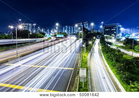 Busy traffic on highway at night