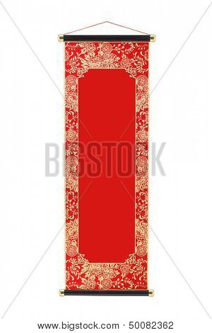 Chinese Festive Scroll With Floral Design Border and Copy Space