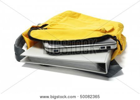 Laptop And File In Yellow Backpack On White Background