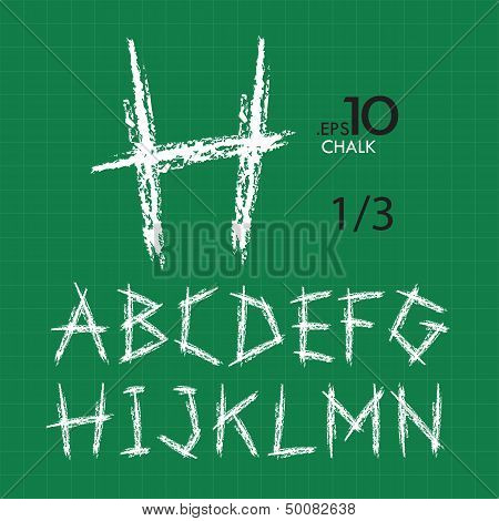 1-3 Set Of Chalk Vector Alphabet A-n Editable (type2)