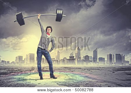 Weight Lifting businessman with a red tie. illustration