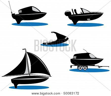silhouette of the boats
