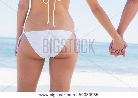 Young couple in swimwear holding hands rear view at the beach