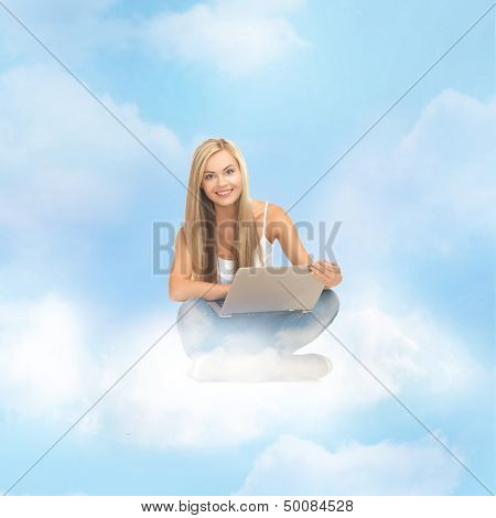 education and technology concept - young woman sitting on the cloud with laptop
