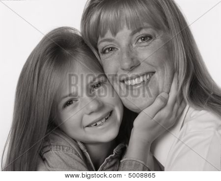 Black And White Portrait Of Mother Daughter