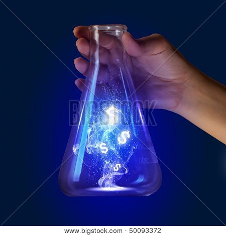 Close up image of human hand holding test tube. Money concept poster