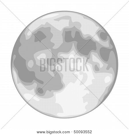 Vector Full Moon Isolated On White