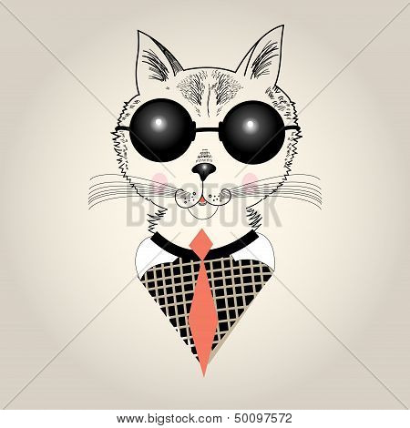 Graphic portrait of a hipster cat with tie and sunglasses poster