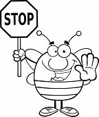 Black And White Pudgy Bee Holding A Stop Sign Cartoon Character poster