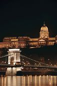Night cityscape of the St Stephen's Basilica in Budapest capital of Hungary poster