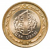 one Turkish lira coin isolated on white background poster
