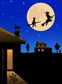 The witch and the boy fly on the night sky on the moon background, illustration poster