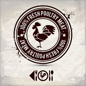 alternative poultry label / stamp on textured background which is made from several transparent layers for a worn rubbed effect therefore saved in eps 10 poster