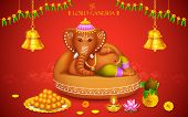 illustration of statue of Lord Ganesha made of clay Ganesh Chaturthi poster