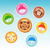 Set of rounded badges with happy kids and animals at the zoo poster
