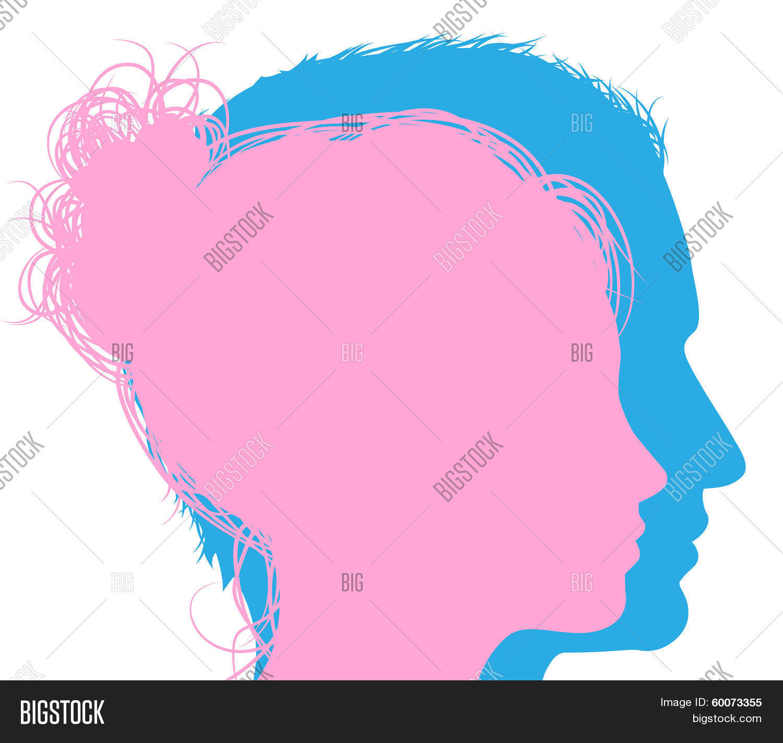 Man Woman Faces Vector Photo Free Trial Bigstock