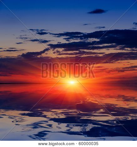 Nice sunset over water surface