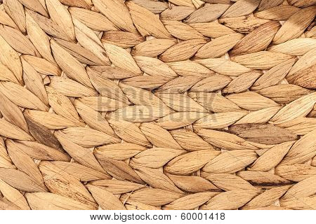 Braided Wooden Background. Closeup Photo Texture