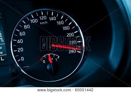 Close-up Photo Of Modern Automotive Speedometer On Black