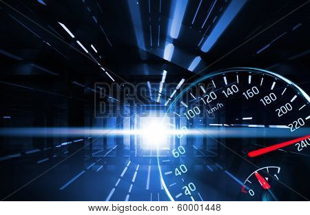 Abstract Night Racing Illustration With Lights And Speedometer