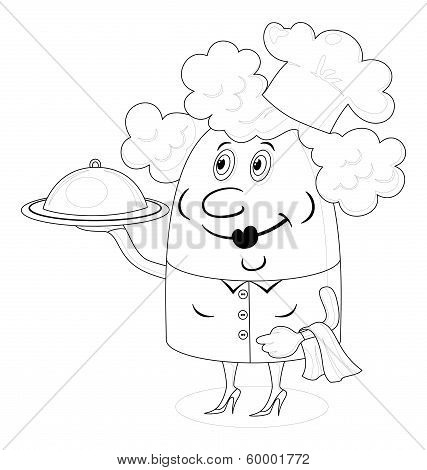 Cook woman with tray, contour