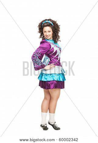 Woman In Irish Dance Dress Posing Isolated