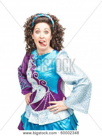 Woman In Irish Dance Dress Showing Tongue