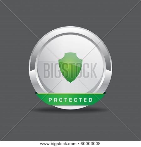 Protected Round Vector Icon Button