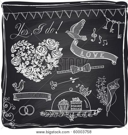Chalk wedding hand drawn graphic set on a chalkboard. Eps10.