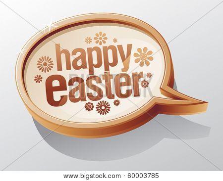 Happy Easter shiny glass speech bubble.
