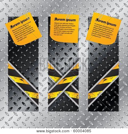 Metallic Labels Set With X Shaped Grunge Lines