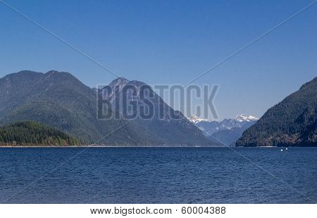 Lake surrounded with mountains.