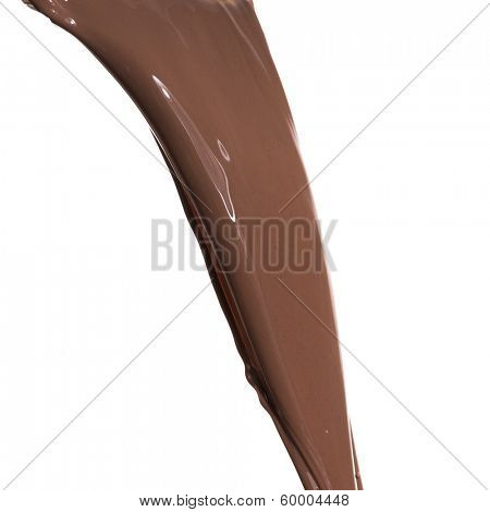 pouring melted chocolate on white background