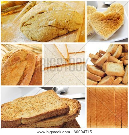 a collage of different kinds of bread
