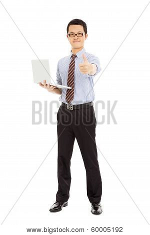 Computer Engineer Is  Standing And Thumb Up