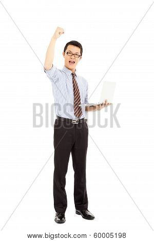 Success Computer Engineer Is  Standing And Raise Hand