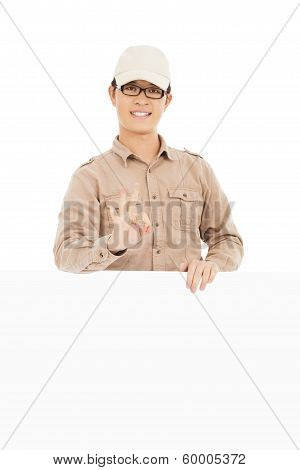 Delivery Man Make  Ok Gesture With White Board