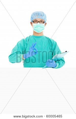 Surgeon Or Checker Thumb Up With  White Board