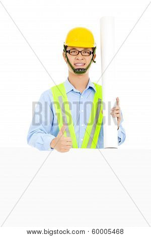 Happy  Architect Holding  Blueprints And Thumb Up