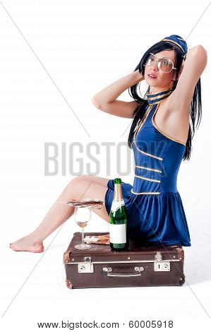 Young beautiful air hostess relaxing