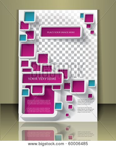 Vector  business brochure or magazine cover  template . Boxes