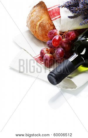 Wine and bread over white