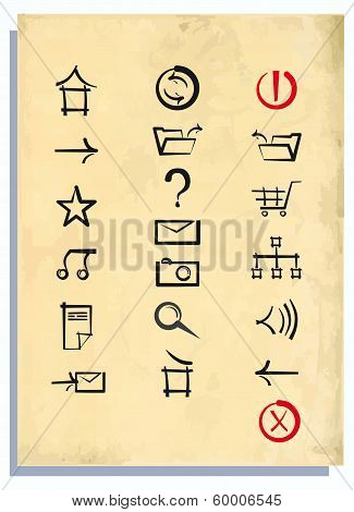 Internet icons on an old paper