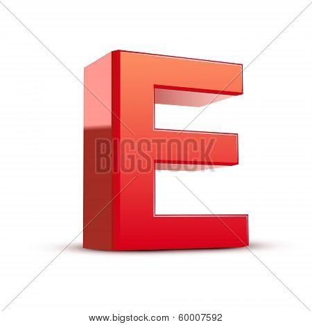 3D Red Letter E