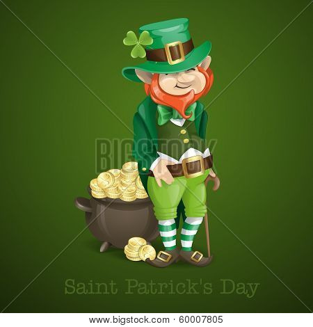 St. Patrick's Day. Leprechaun With Pot Of Gold.